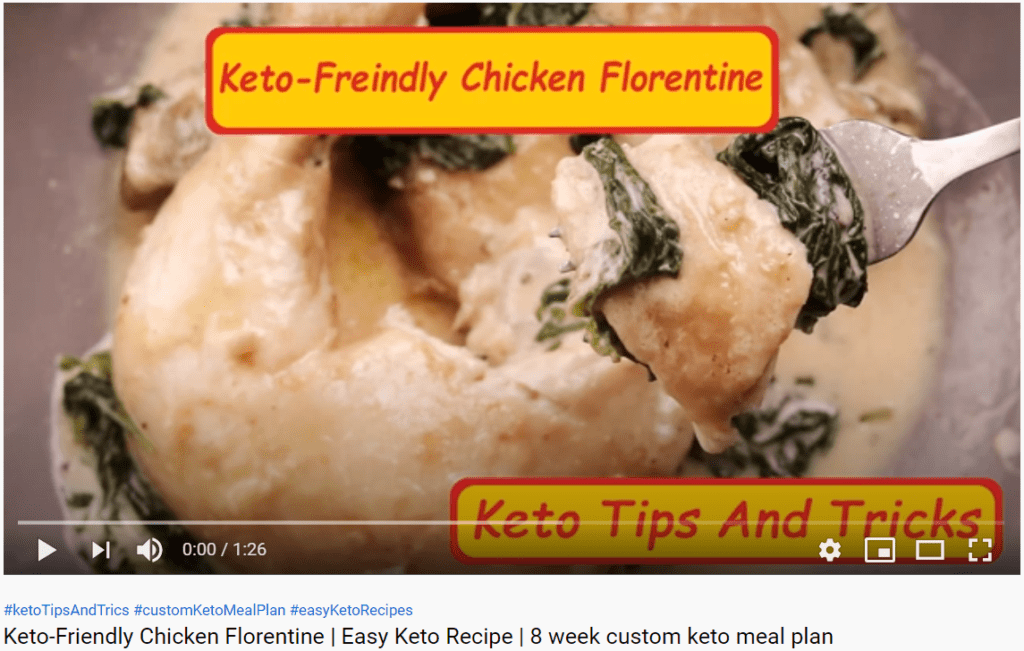 """Video capture of """"Keto-Friendly Chicken Florentine"""" recipe video. Click to watch the video on YouTube."""