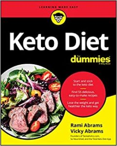 """""""Keto Diet For Dummies"""" book cover photo. Click to read detail on Amazon."""