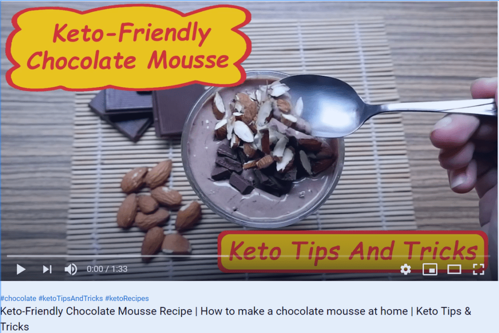 """Video capture of """"Keto-Friendly Chocolate Mousse Recipe"""". Click to watch on YouTube."""