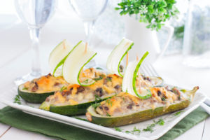 Photograph of stuffed cucumbers (cucumber boats). Click to get your personalized custom keto diet plan.